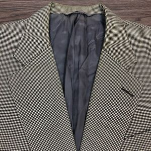 Hickey Freeman Black White Houndstooth Blazer 42L